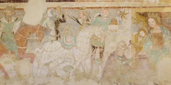A Háromkirályok imádása és egy vadászjelenet a veleméri templom falán