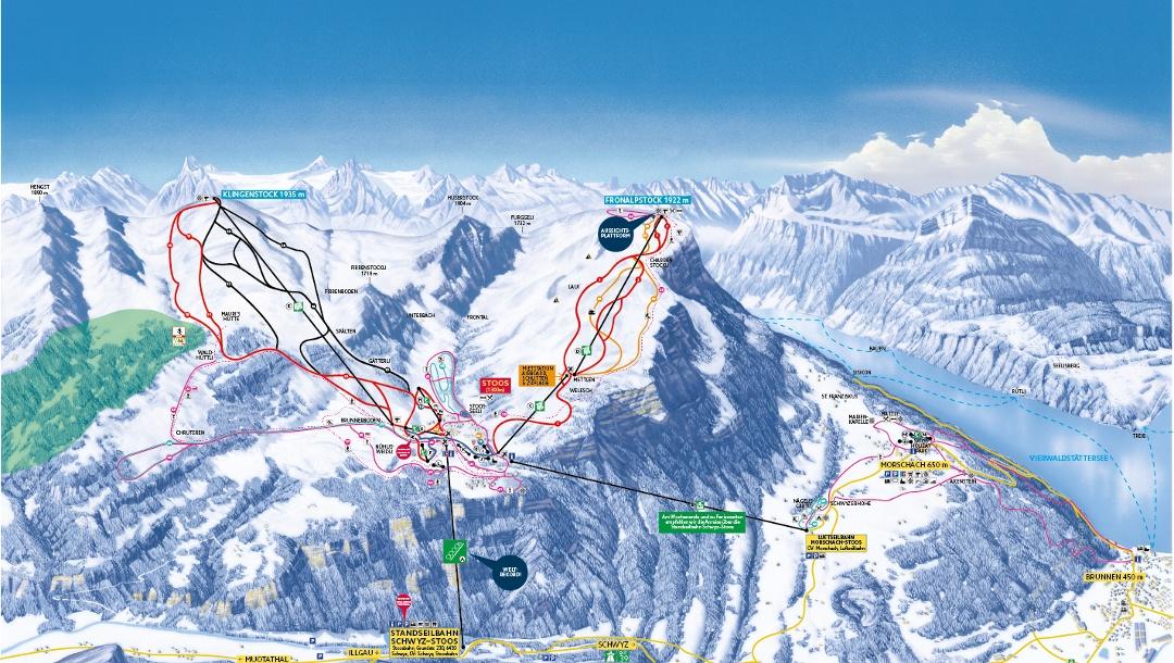 Pistenplan Skigebiet Stoos