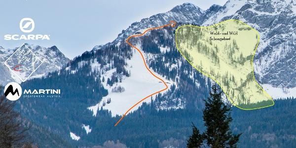 Übersichtsbild - Topo der Skitour Eckerleiten von der Roßfeldstraße.