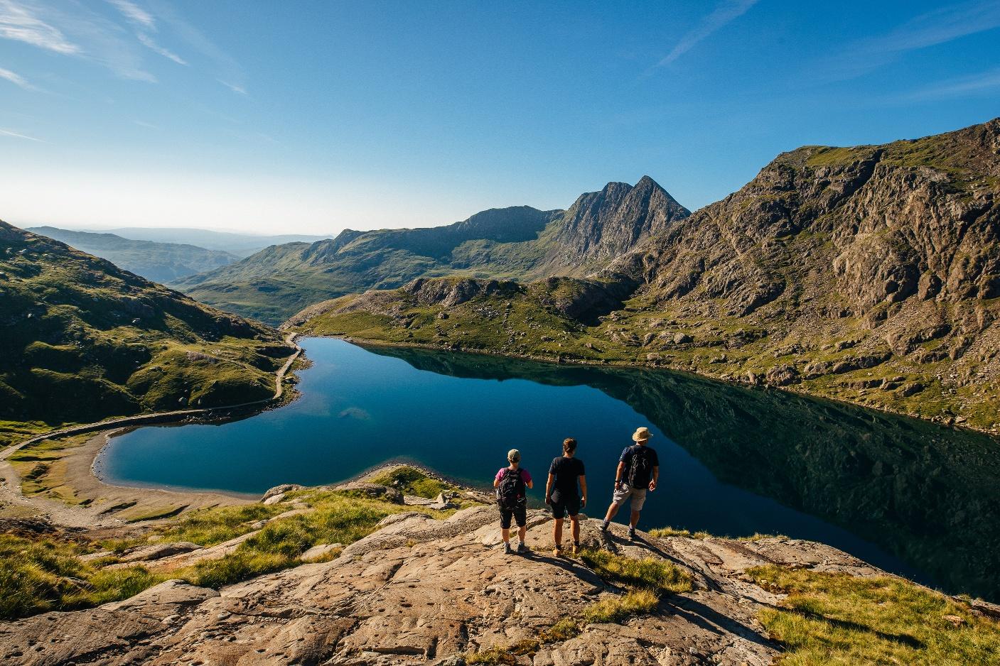 Wanderer im Snowdonia Nationalpark, Nordwales