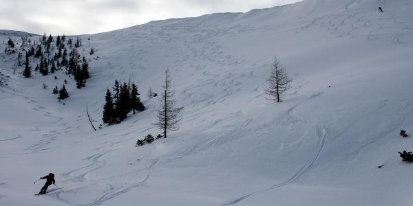 Kräuterin-Ost: Skigenuss im oberen Teil der Abfahrt in die Mulde auf 1620 m