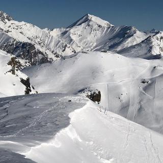 Ski depot near sattle just north east of Piz Minschun summit