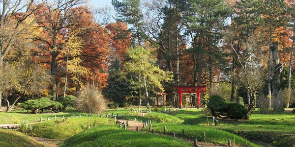 Japonská záhrada v botanickej záhrade v Szegede