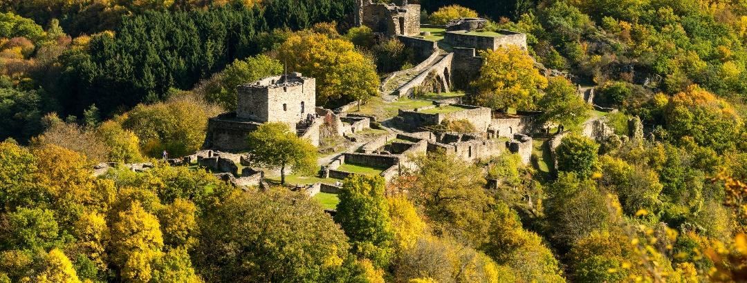Die von dichten Wäldern umgebene Ruine der Schmidtburg ist ein Highlight der Hahnenbachtaltour