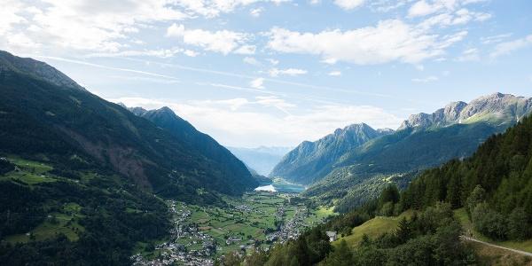 Auf dem Weg nach Alp Grüm öffnet sich immer wieder der Blick in die Val Poschiavo
