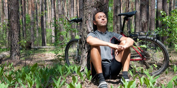 Relaxing bicyclist in coniferous forest the spring under pine tree