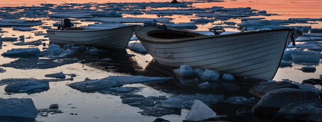 Boats in spring ice
