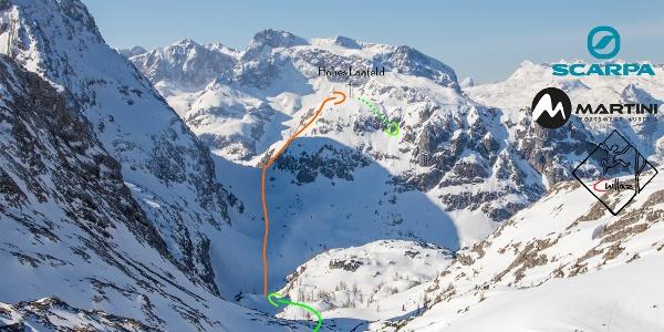 Routenskizze Aufstieg mit Ski aufs Hohe Laafeld. (Topo)