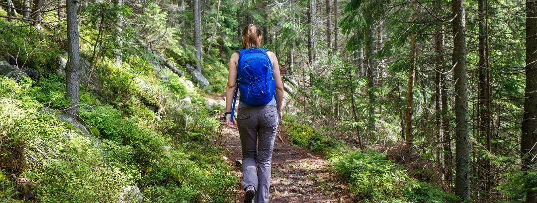 Young smiling woman with backpack hiking in forest