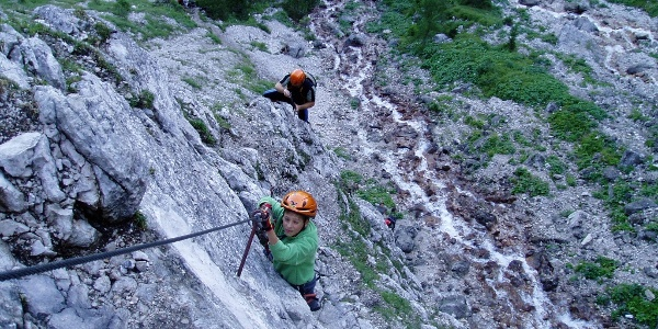 Einstiegswand am Seebener Klettersteig