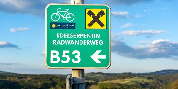 Edelserpentin Radwanderweg B53 Schild