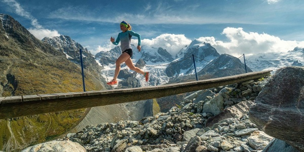 Trailrunning with the Bianco ridge in the background