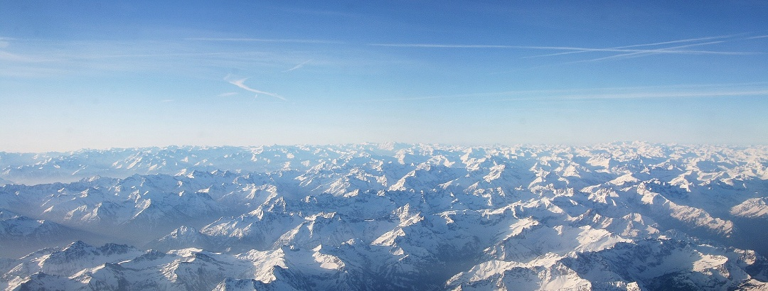 Aerial view of the Western Alps shortly before Zurich