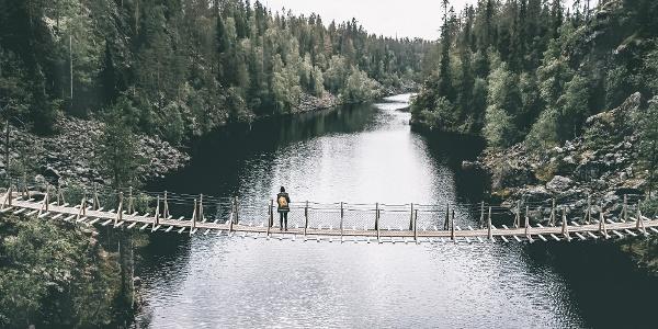 Atemberaubende Aussicht von der Hängebrücke über die Julma-Ölkky-Schlucht