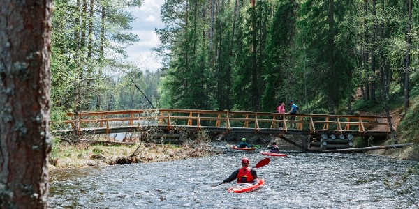 The Perankajoki rapids offer paddlers challenges