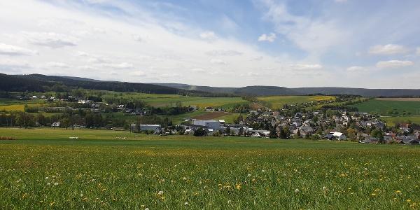 Blick vom Schießberg Richtung Markersbach / Rundwanderweg Crottendorf