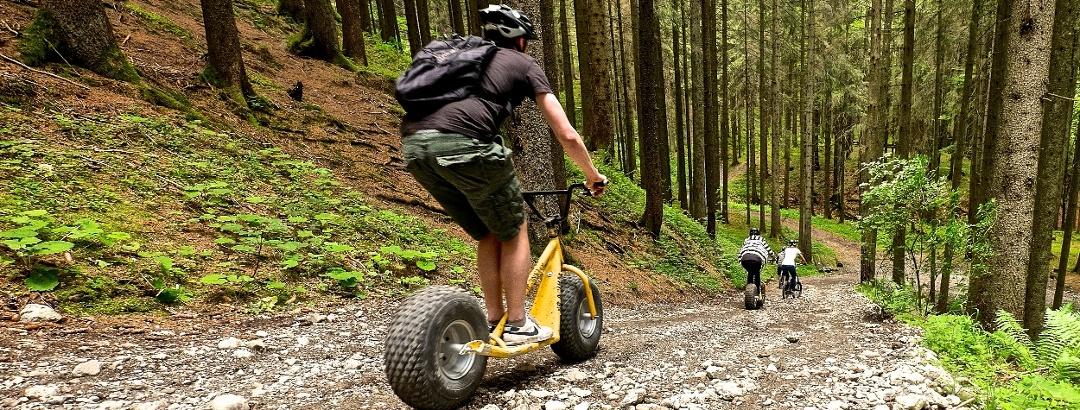 Abfahrt mit dem Downhill-Roller vom Ofterschwanger Horn