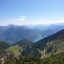 Blick zum Walchensee vom Aufstiegsweg zum Martinskopf. Man erkennt gut den Forstweg der von der anderen Seite aufsteigt.
