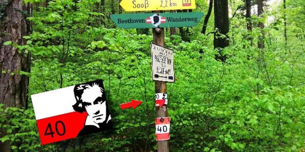 Wegweiser an der Jägerhausstraße. Der konzipierte Beethovenrundwanderweg ist neben der Farbmarkierung [Rot-Weiß (40) -Rot] auch mit Klebemarkierungen mit Beethovenkopf  versehen um Verwechslungen mit dem Vöslauer Beethovenweg zu vermeiden.