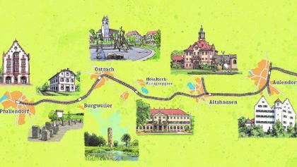 Streckenplan der Räuberbahn von Aulendorf (Anschlüsse aus Ulm und Ravensburg) n. Pfullendorf