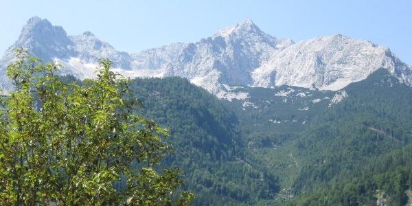 Blick von der Bushaltestelle Polsterstüberl auf das Tote Gebirge