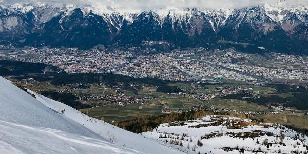 Blick von Boscheben hinab nach Innsbruck