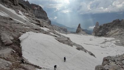Schneefelder auf dem Sentiero Dallagiacoma.