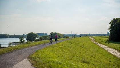 Radfahrer auf dem Rhein bei Voerde