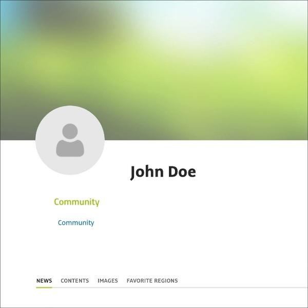 So sieht ein öffentliches Profil aus, wenn nur der Name hinterlegt wurde.