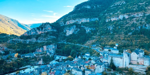 View towards the medival village of Sainte-Enimie