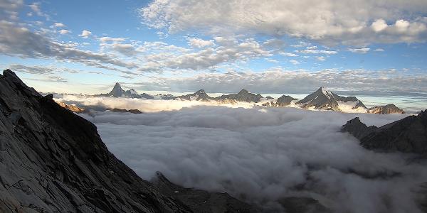 Blick auf Matterhorn, Dent d´Hérens, Obergabelhorn, Zinalrothorn, Weisshorn