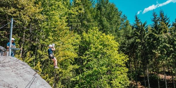 Integrierter Flying Fox beim Klettersteig Latschau