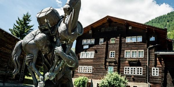 Baschi monument in the mountain village of Geschinen