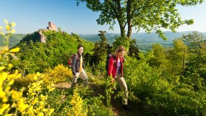 Wanderer vor Burg Trifels