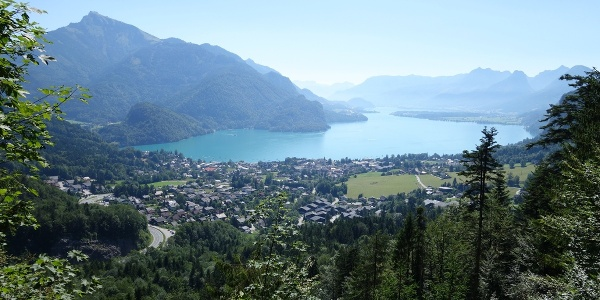 Mozart's view of St. Gilgen, the Wolfgangsee and the Schafberg Mountain