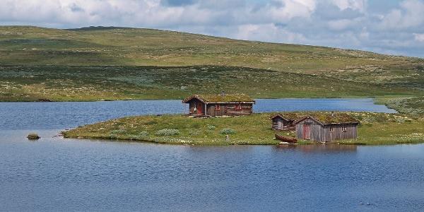 Hytte og naust ved idylliske Bjønntønnan  en sommerdag