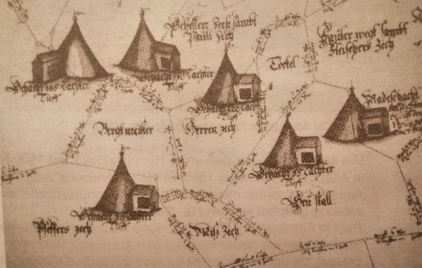 Grubenfelder und Schachtanlagen um 1574 im Bereich der heutigen Pinge