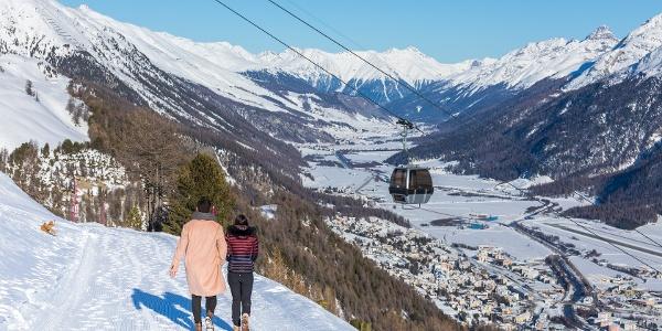 winter hiking on Corviglia