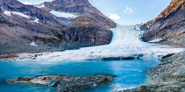At the foot of the Steindalsbreen glacier.