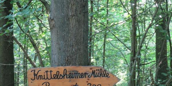 Hinweisschild Knittelsheimer Mühle
