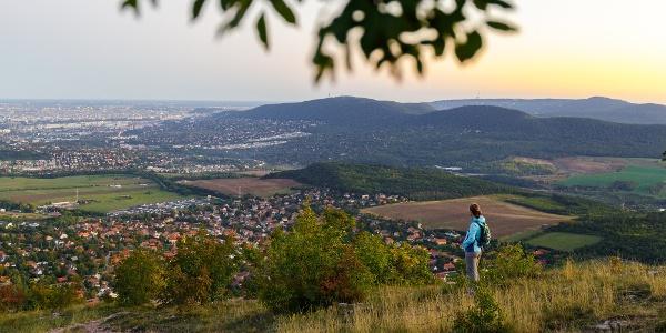 Kilátás a Nagy-Kevélyről Budapest felé