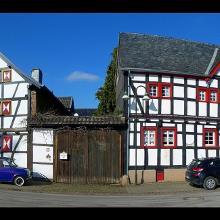 Fachwerkhäuser am Frankenring in Hostel