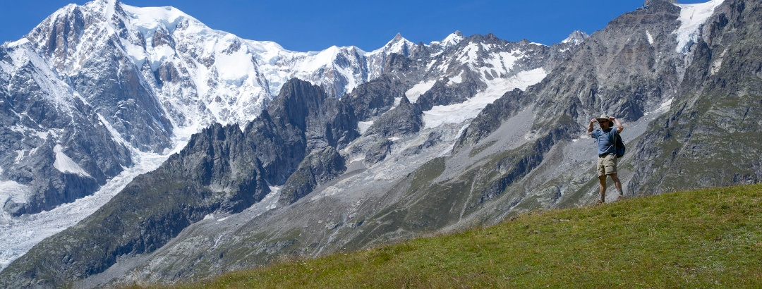Along the trail to Bonatti hut with Mont Blanc in the background