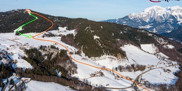 Skitour zum Hirschkaser - Übersichtsbild - Topo