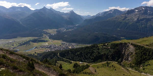 view down to the villages of Celerina and Pontresina