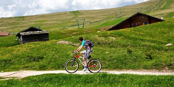 Mit dem Bike auf den Gipfel, Radfahrer beim Unterhornhaus