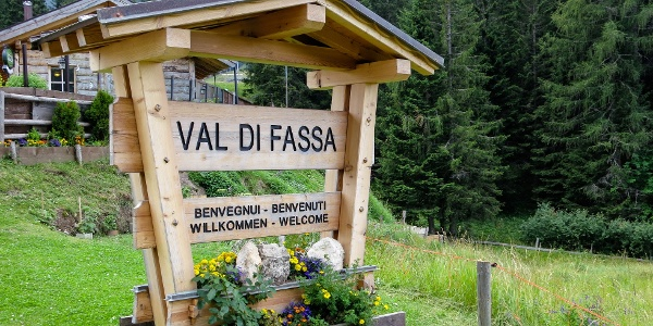 At the Passo Costalungo, between the val d'Ega valley and the val di Fassa valley.