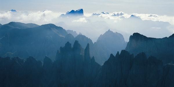Der Rosengarten, das berühmte Bergmassiv in den Dolomiten.