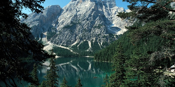 The lake Pragser Wildsee - in the back the guardian of the lake - the Seekofel mountain.
