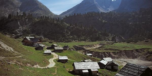"The alpine pasture village ""Fodara Vedla"" in the Dolomite mountains."